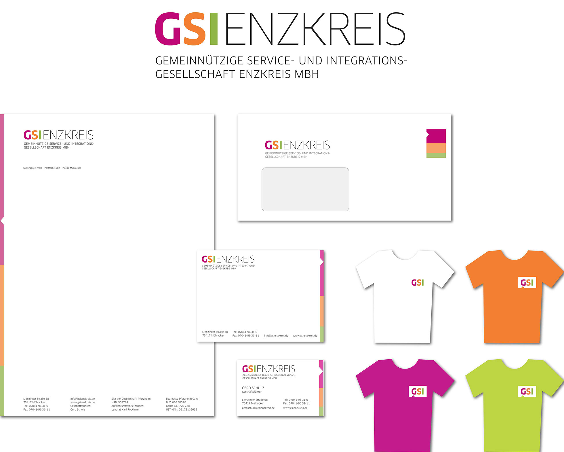 GSI Briefbogen, Vistenkarten, T-shirt